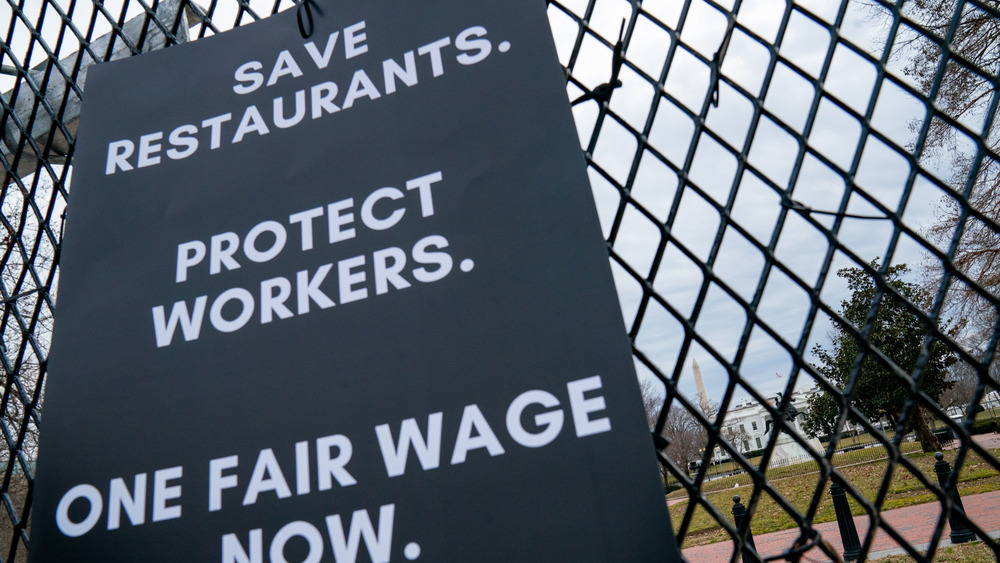 Protest sign from minimum wage rally