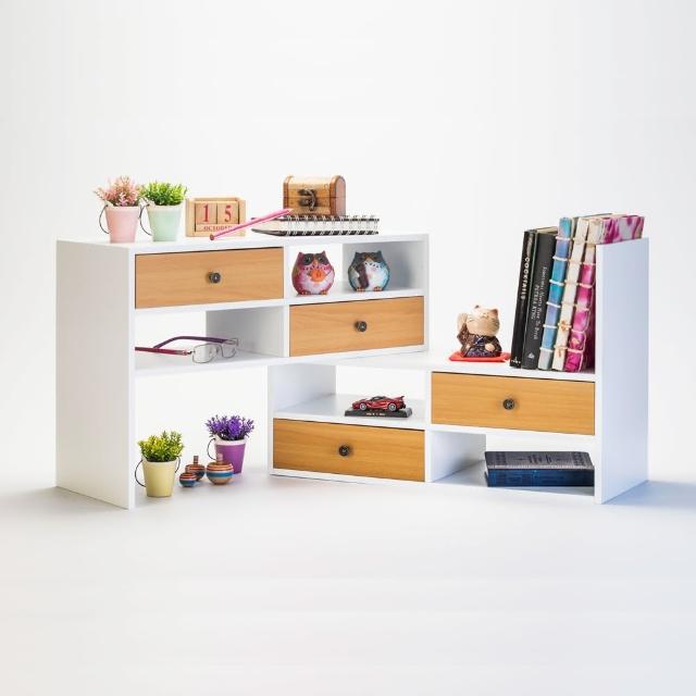 【TWO TONE】多用途桌上型伸縮收納櫃(白+原木)
