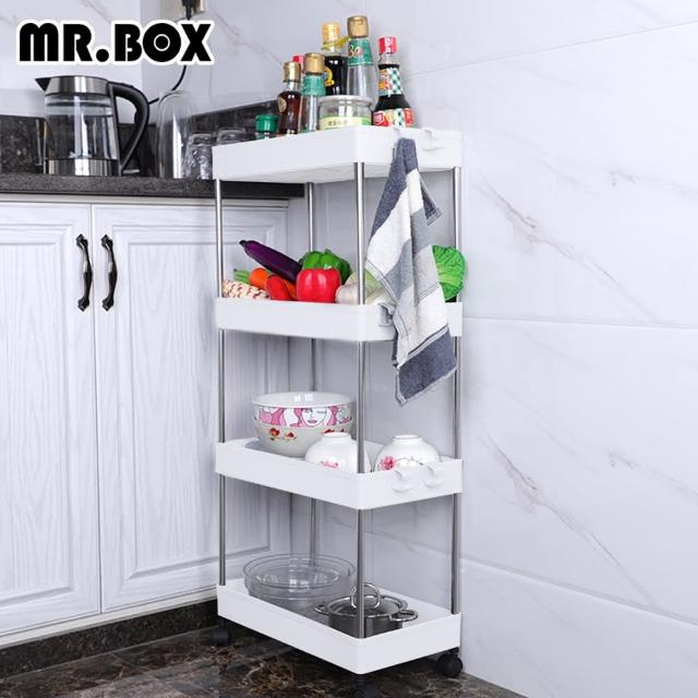 【Mr.box】日系隙縫萬用4層滑輪收納架/置物架 小款 深12.5cm