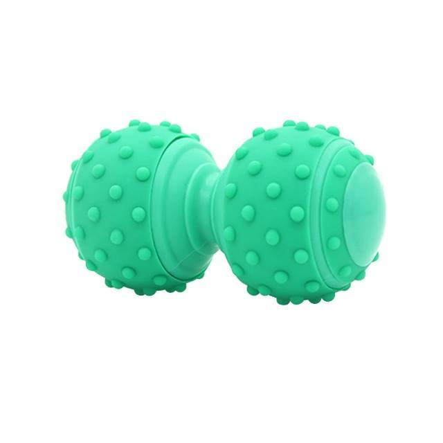 【原生良品】健康穴位紓壓瑜珈運動花生型矽膠凸點按摩球/筋膜球(薄荷綠)