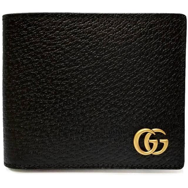 【GUCCI 古馳】428726 經典GG Marmont系列金屬GG LOGO牛皮折疊短夾(黑色)