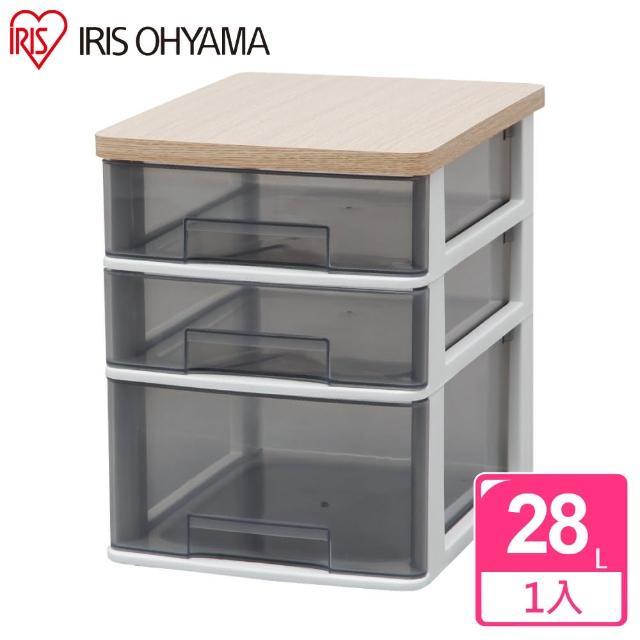 【IRIS】三層木質天板桌上型收納盒寬27公分 -深型- WTDC-421RF(桌上型/收納/多尺寸/透明/好找)