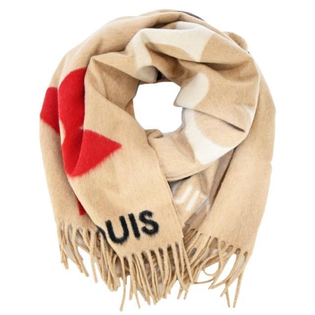 【Louis Vuitton 路易威登】Ultimate 羊毛緹花織物花紋流蘇圍巾(米色)