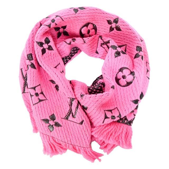 【Louis Vuitton 路易威登】Logomania Shine 羊毛金屬絲線花卉裝飾圍巾(亮粉紅)