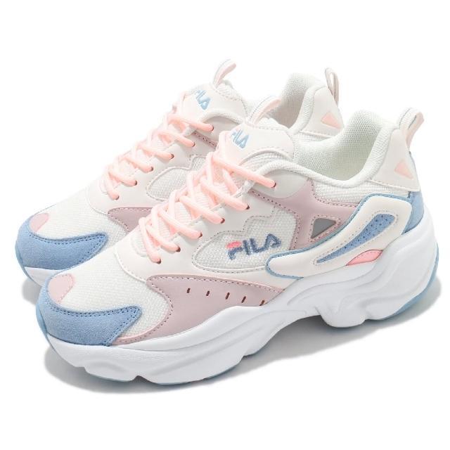 【FILA】休閒鞋 J308V 復古 老爹鞋 女鞋 斐樂 厚底 修飾線條 增高 流行款 白 藍(5J308V133)
