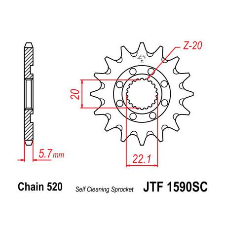 Pignon JT acier anti-boue type 1590 pas 520 13 dents