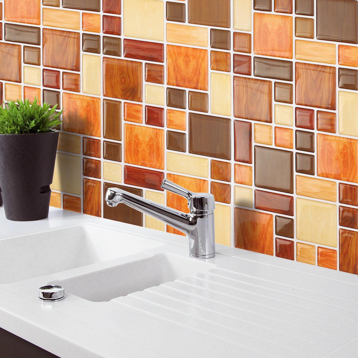 orange kitchen wallpaper unique islands brown creative 3d mosaic wall stickers backsplash tile