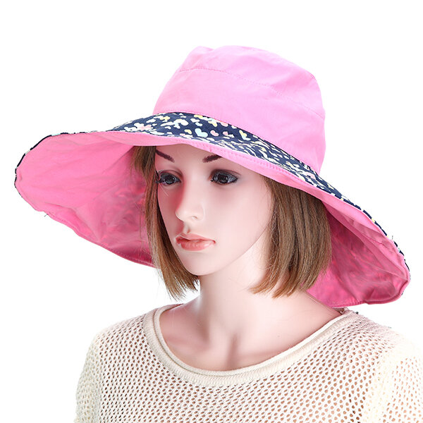 Women Summer Double-sided Wear Outdoor Beach Gardening Sun Protective Hat Driving Anti-UV Wide Brim Visor Cap