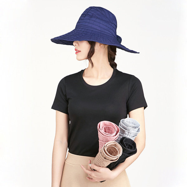 Women Summer Foldable Anti-UV Protective Beach Sun Hat Outdoor Driving Wide Brim Visor Cap