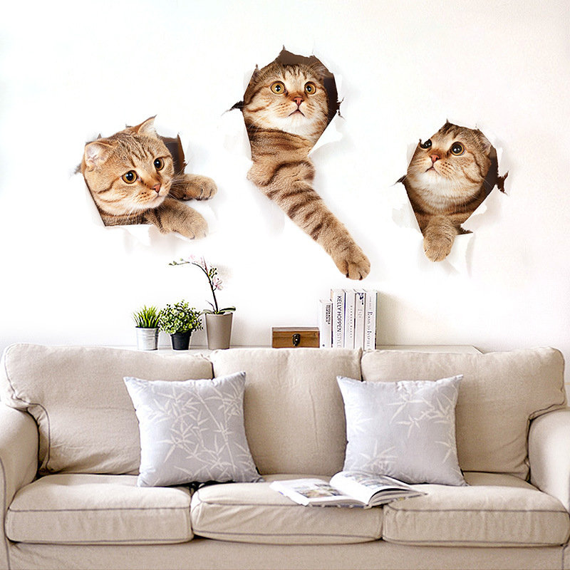 Cute Shelf Wallpaper 3d Creative Cute Cat Self Adhesive Bedroom Living Room