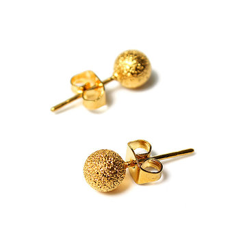 Globular Ball 14K Gold Plated Stud Earrings