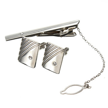 Men Elegant Tie Clips Cufflinks Sets Silver Business Gift Shirt Accessories