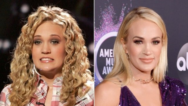 country star Carrie Underwood then and now