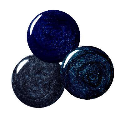 Nail Polish-Lippmann Collection in Don't Tell Mama-YSL in Tuxedo Grey-Sally Hansen in Blazing Blue
