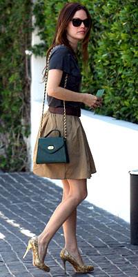 Rachel Bilson in Brian Reyes skirt and Guiseppe Zanotti shoes