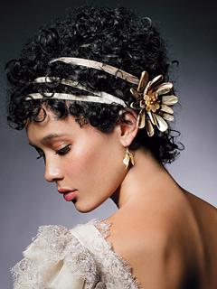 Velvet ribbon in hair