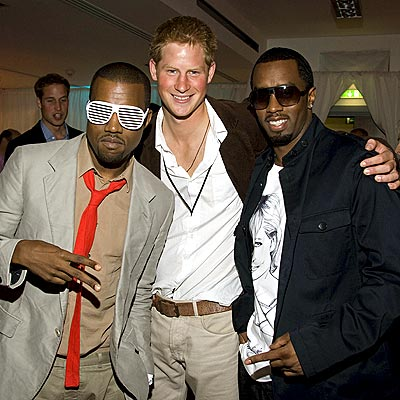 Kanye doesnt know Prince Harry and Diddy are laughing at his glasses.