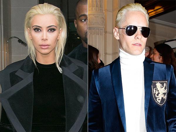 Kim Kardashian and Jared Leto blonde hair