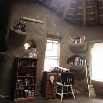 the inside of ziggy's cob house
