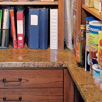 u shaped closet pantry with spill proof counter surface