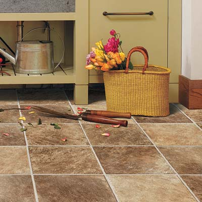 open to the outdoors potting room with quick clean vinyl floor