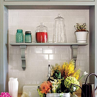 plumbed hutch potting room with waterproof backsplash and eye-catching shelf