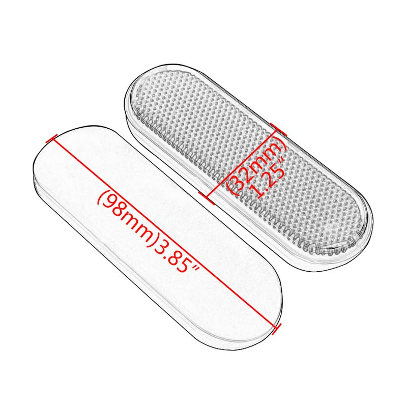 Motorcycle Red Oval Reflector Reflective Sticker Plastic