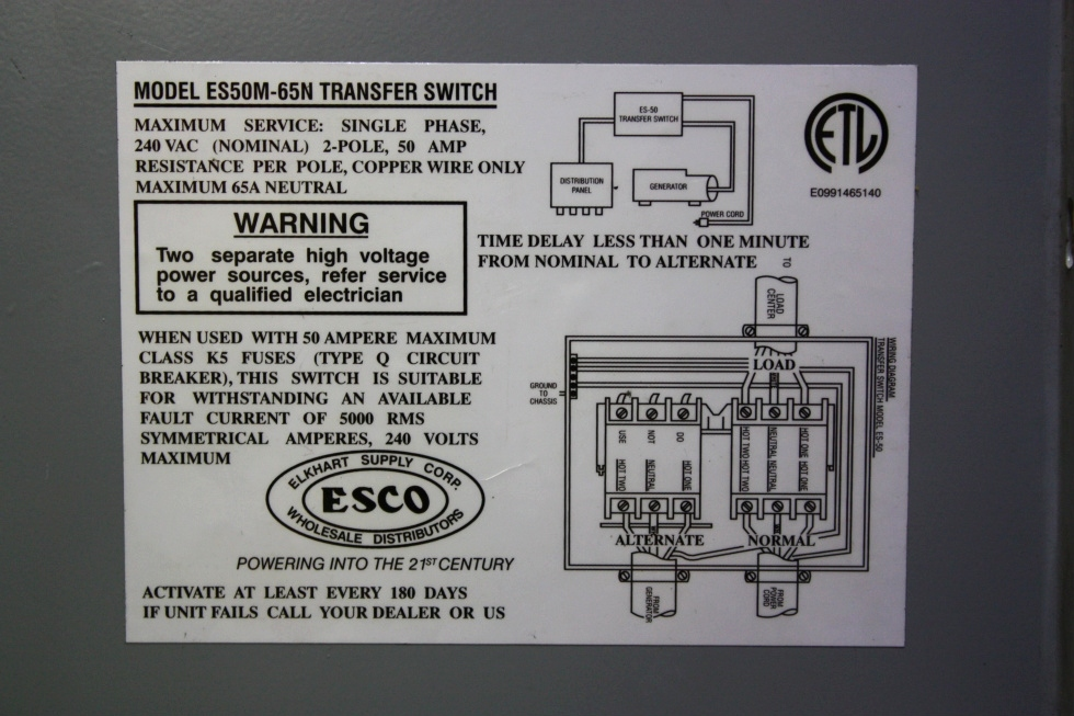 50 Rv Wiring Schematic Rv Components Used Rv Power 50 Transfer Automatic Transfer