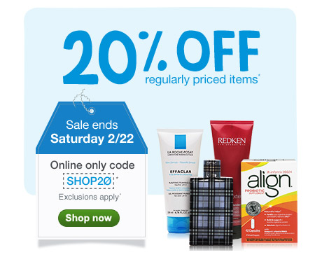 20% OFF regularly priced items thru 2/22 with code SHOP20.* Shop now.
