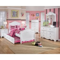 Lydia Sleigh Bedroom Set with Twin Trundle Panel in White ...