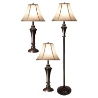 Style Craft 3 Piece Table Lamp and Club Floor Lamp Set ...