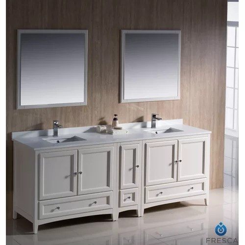 Oxford 84 Double Traditional Bathroom Vanity Set with