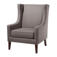 """NEW 40.9""""H GORGEOUS CHARCOAL GREY WINGBACK ARM CHAIR ..."""