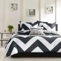 Reversible black and white to gray and white chevron bedding