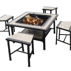 Fire Pit And Chair Set Navy Arm 5 Piece Dinning Tile Patio Furniture Pool