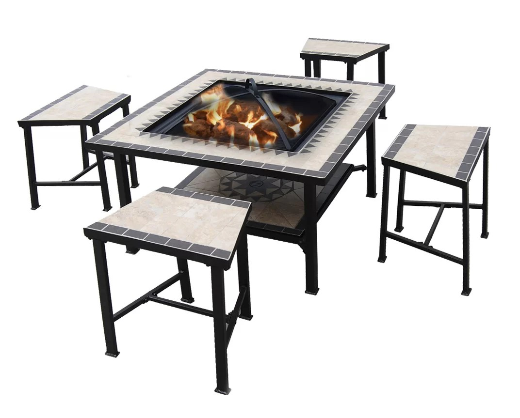 Fire Pit Table And Chairs Set 5 Piece Dinning Set Tile Patio Furniture Fire Pit Pool