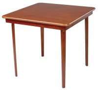 Cherry Finish Card Table Wooden Folding Straight Edge ...