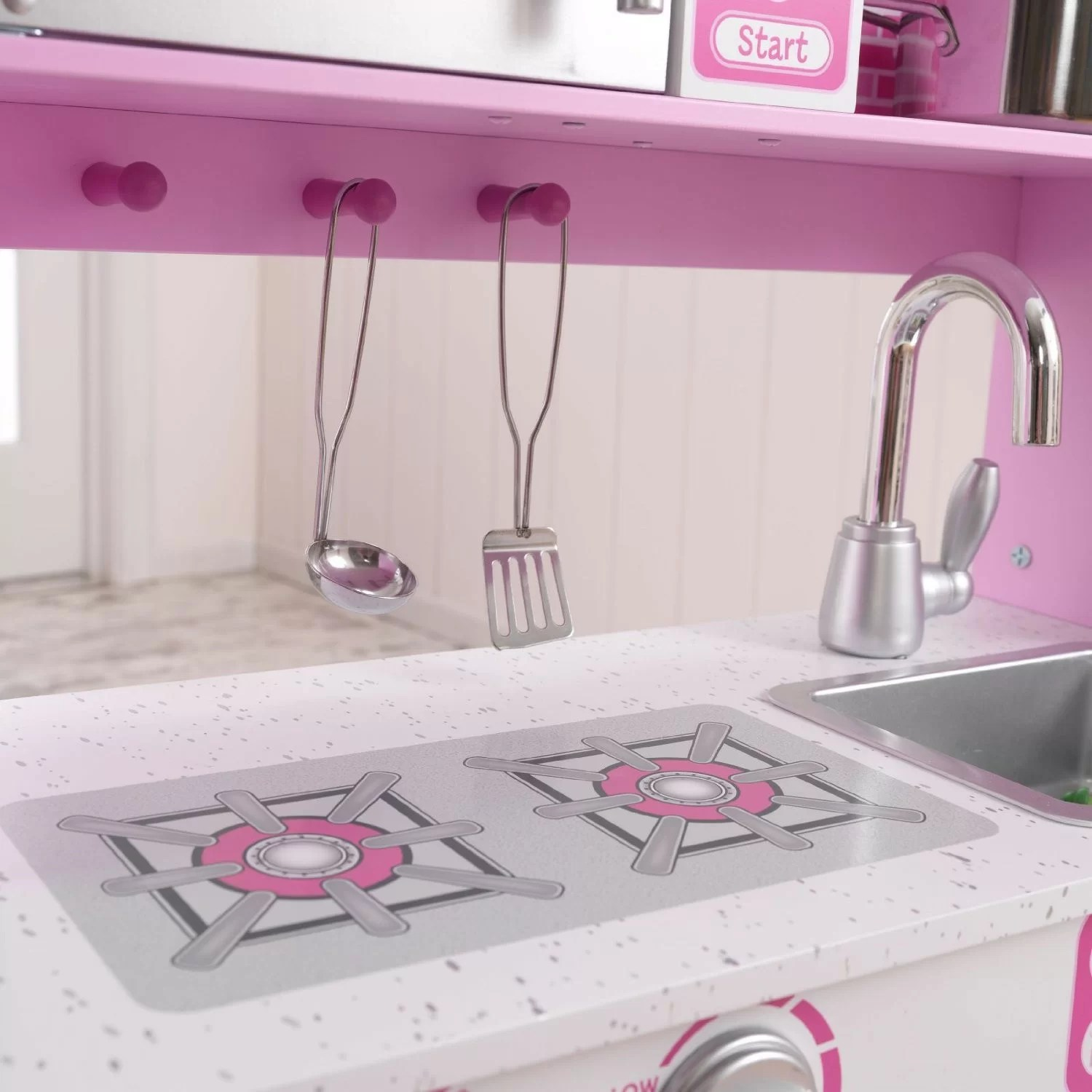 kidkraft pink retro kitchen & refrigerator 53160 faucet with side spray pretend play w accessories