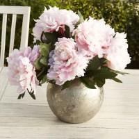 Birch Lane Faux Pink Peonies in Silver Vase | Birch Lane