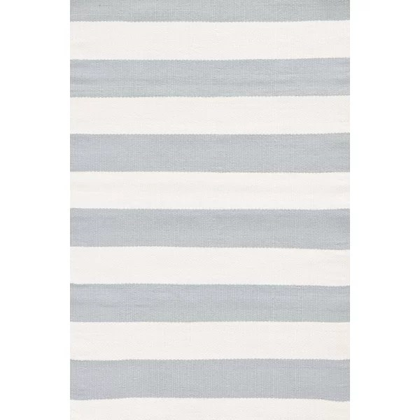 Blue / Ivory Striped Indoor / Outdoor Area Rug
