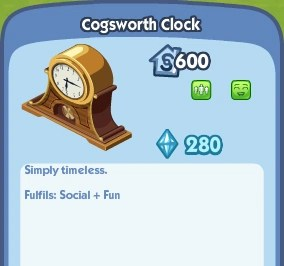 Cogsworth Clock  The Sims Social Wiki