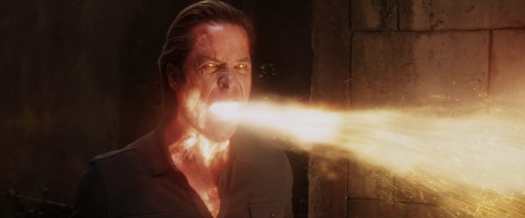 Aldrich Killian breathes fire in Iron Man 3