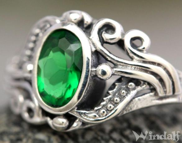 Damen MittelalterRing  SNA  1 cm  Grner Smaragd  Silber  Ringe mit Steinen  Windalf