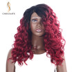 CHOCOLATE Ombre Synthetic Lace Front Wig for Black Women T1bred Color 180 Density Long Wavy Synthetic Wig 16 Inch