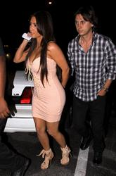 Kim Kardashian wearing skimpy sexy dress showing off ehr boobs at the Viper Room in West Hollywood - Hot Celebs Home