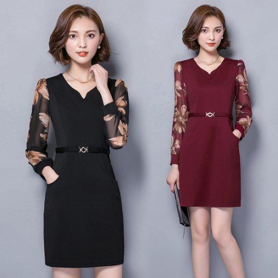 パーティドレス袖付き 黒 ワインレッド
