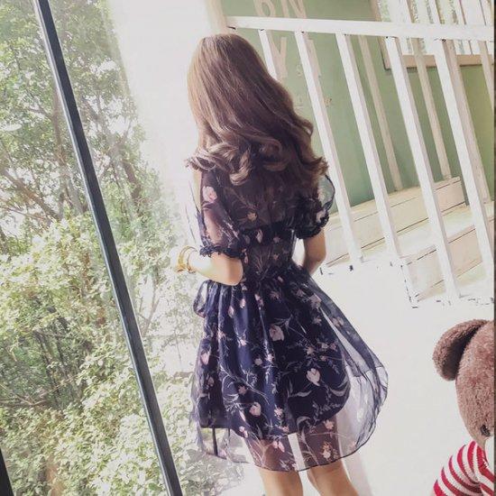 パーティドレス 花柄 シースルー 半袖ワンピ