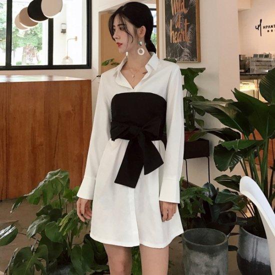 韓国シャツワンピース 白 水色 リボンベルト付き