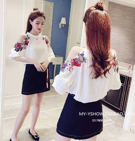 韓国セットアップ ワンピース 花柄刺繍
