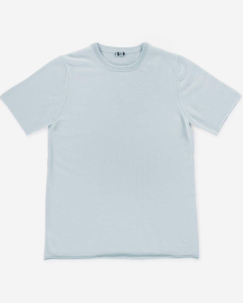カシミアTシャツ ベビーブルー